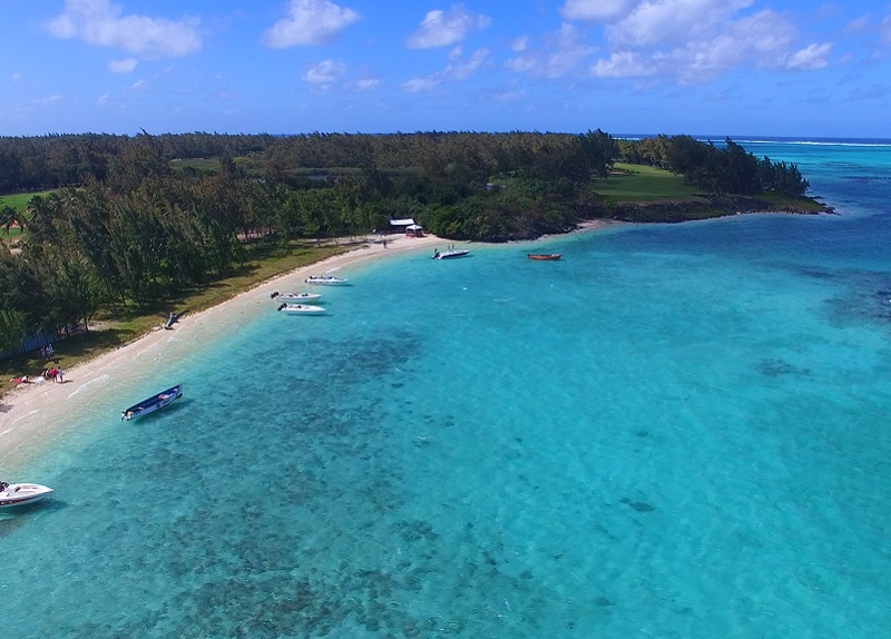 Ile aux cerfs beach in Mauritius is on the east coast. It is a very popular tourist destination and best place to go