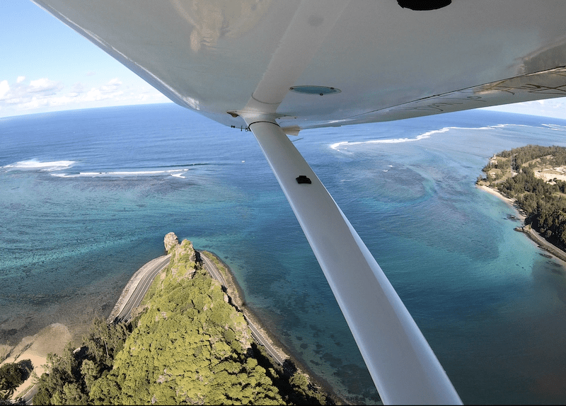 Seaplane flights over Macondé in Mauritius