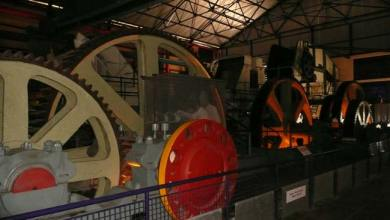 Giant wheels and machinery in a sugar factory