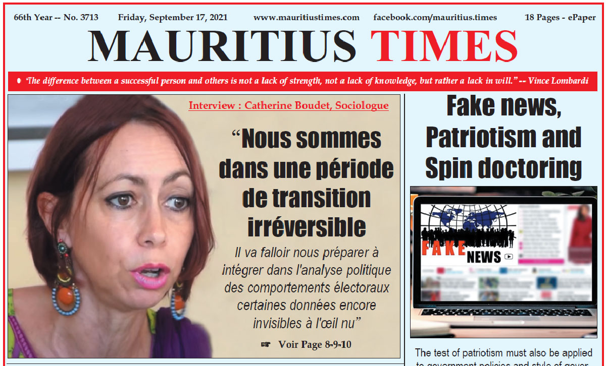 Free download Mauritius Times ePaper Friday 17 September 2021