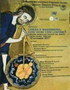 STRAORDINARIA LECTIO MAGISTRALIS DI ANTONIO STAGLIANÒ VESCOVO DI NOTO, AL CONVEGNO PROMOSSO DALLA LOGGIA MASSONICA DEL GRANDE ORIENTE D'ITALIA A SIRACUSA