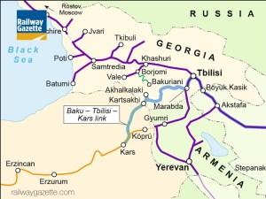 la linea Baku-Tbilisi -Kars che unirà il Mar Nero al Caspio.