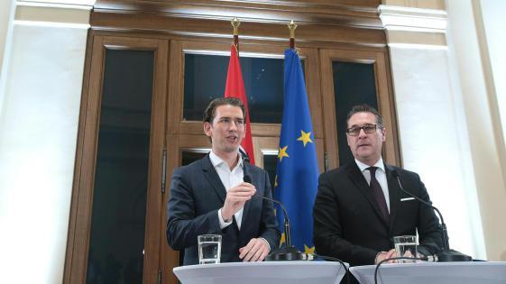 Sebastian Kurz con Heinz-Christian Strache del FpOE