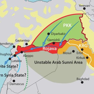 """Il Rojava come progettato dal """"Washington Institute for Near East Policy"""", noto pensatoio della Israeli lobby."""