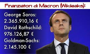 Chi finanzia Macron - George Soros: 2.365.910,16 €, David Rothschild: 976.126,87 €, Goldman-Sachs: 2.145.100 €.