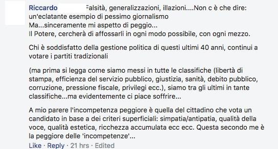 Dibattiti politici italiani su Facebook.