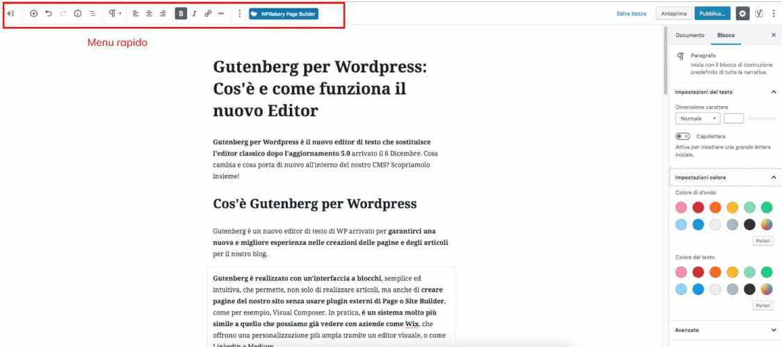 Menu Rapido in Gutenberg per WordPress