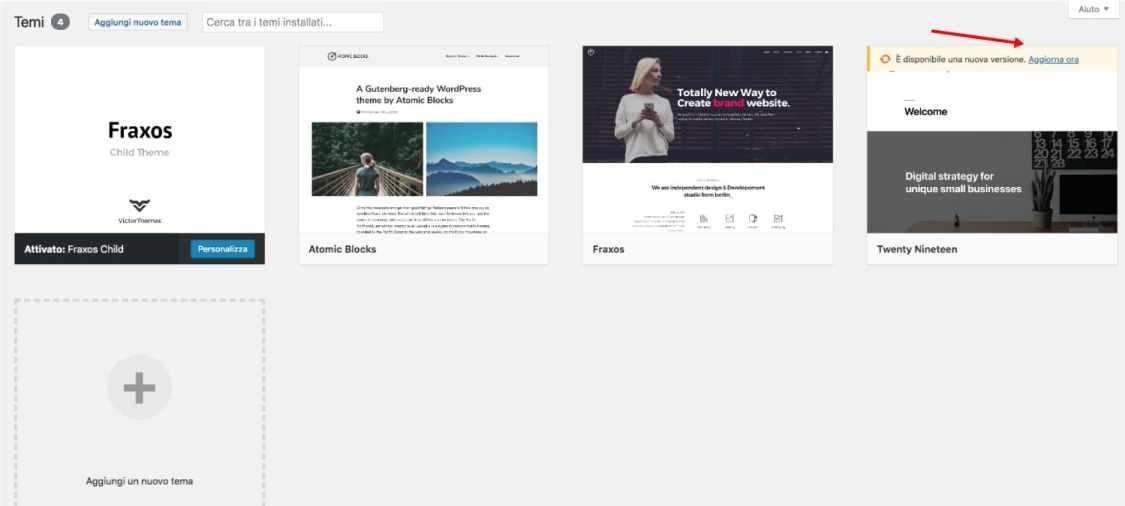 aggiornare tema wordpress dalla sezione temi wp