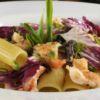 Rigatoni radicchio e gamberi al aglio e olio Friccò Chef Sauro Scarabotta