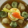 Raviolini de brie e st maure, fondue de alho-porró bouillon de lievre All Seasons by Christophe Besse Chef Christophe Besse