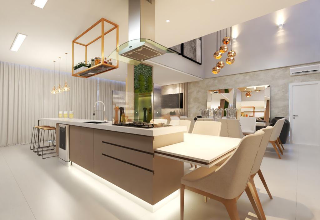 visão da cozinha e sala de jantara