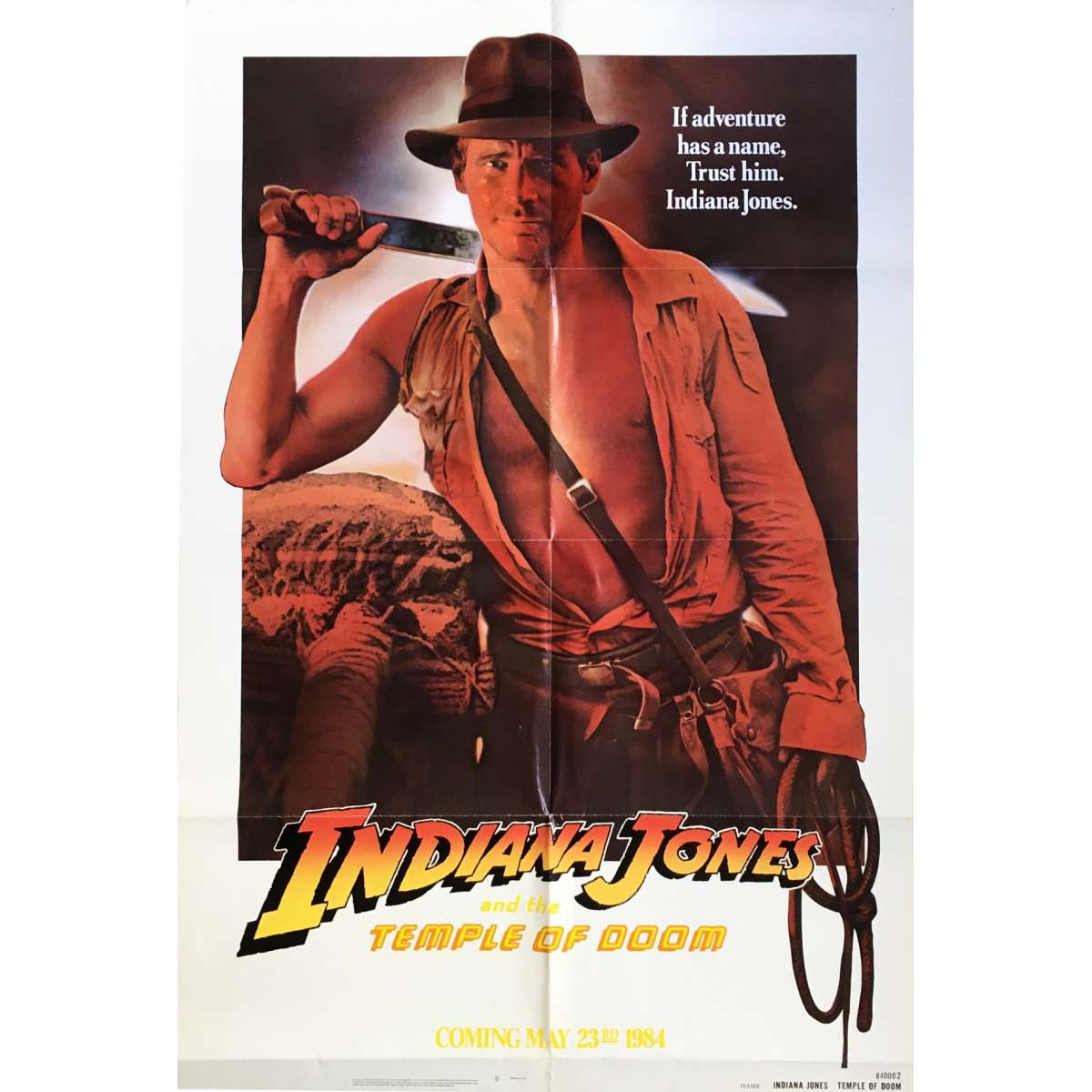 indiana jones and the temple of doom movie poster rejected version 29x41 in 1984 steven spielberg harrison ford