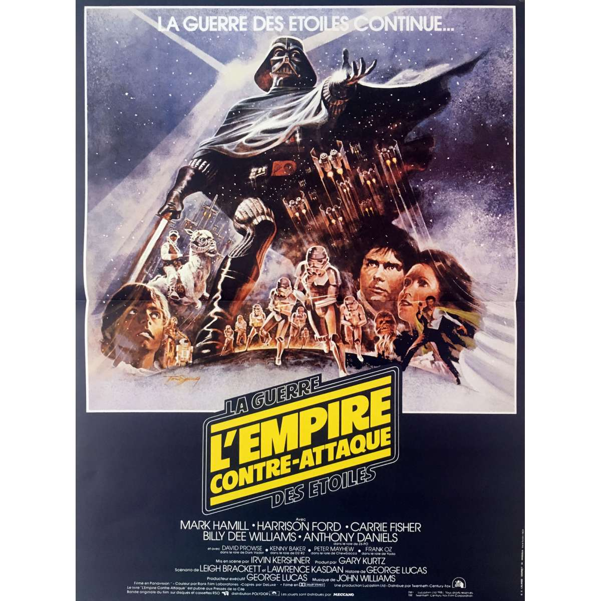 star wars empire strikes back movie poster style b 15x21 in r1990 george lucas harrison ford