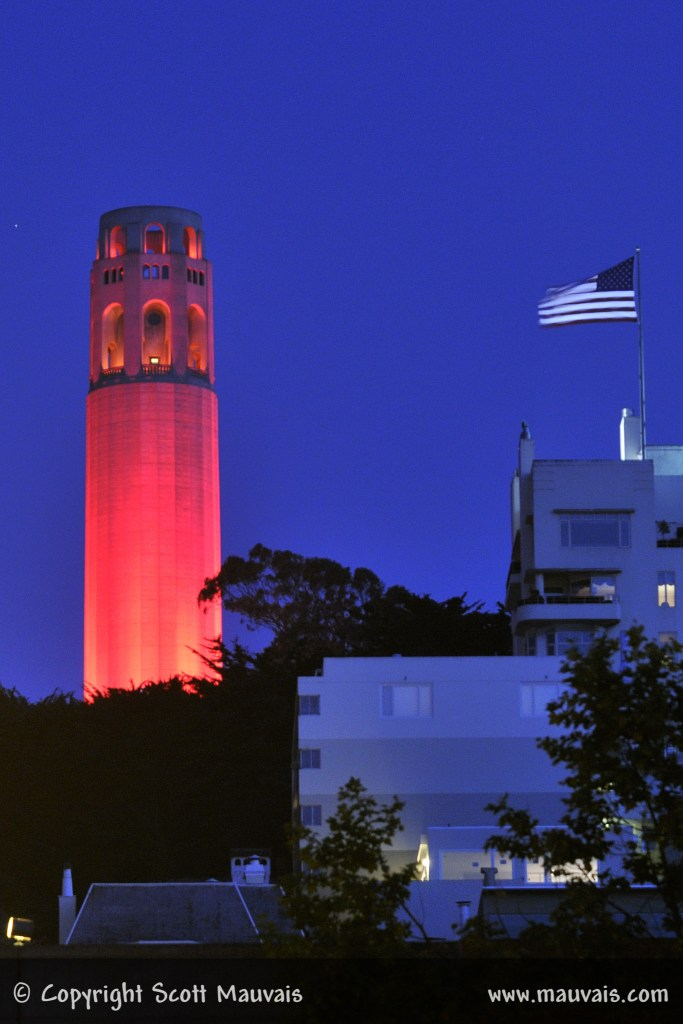 Coit Towwer Lite in Red to Honor Fallen Firefighters