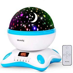 Moredig – Musique projecteur lampe enfant, 360°rotation avec affichage minuterie et télécommande, led veilleuse enfant et 8 différents couleurs modes et cadeau pour les bébés, les enfants, cadeau d'anniversaire, Noël, Anniversaire, Jour de L'an etc – Bleu et blanc