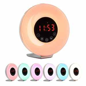 Wake up Réveil lumineux à LED GreenSun avec radio FM Radio numérique Lumière du coucher du soleil Fonction Snooze 10 niveaux de variation 7 couleurs 6 sons naturels Rechargeable Touch
