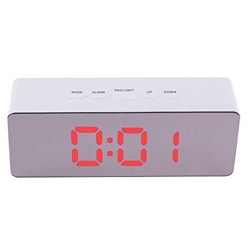 Réveil numérique Horloge de table pour salon de la chambre à coucher, numéro de l'horloge miroir LED, horloge de chevet thermomètre miroir de maquillage