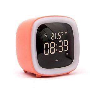 Valaws Horloge Créative Mignon Animal Réveil Chambre Ambiance Bande Dessinée Contrôle Vocal LED Réveil Charge Tête De Lit @ Orange