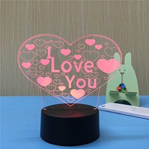 ledmomo 3D Lampe Veilleuse Lumière d'ambiance Lampes de table Décoration cœur