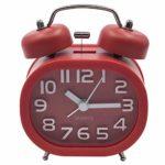 Rétro Réveil Silencieux à Quartz, EASEHOME Réveil Matin Alarme Horloge Analogique de Chevet de Voyage Réveil Métal à Double Cloche Réveil Enfant à Piles non Tic-Tac avec Veilleuse et Alarme Sonore, Rouge