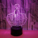 Ballet coloré fille 3D usb LED veilleuse chambre décor joli modèle cadeau de noël pour filles enfant USB lampe de sommeil de bureau