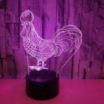 Coq 3d veilleuse LED 7 couleurs visuel tactile poulet 3d lampe 7 changement de couleur LED veilleuse USB Table lampe de bureau décor à la maison