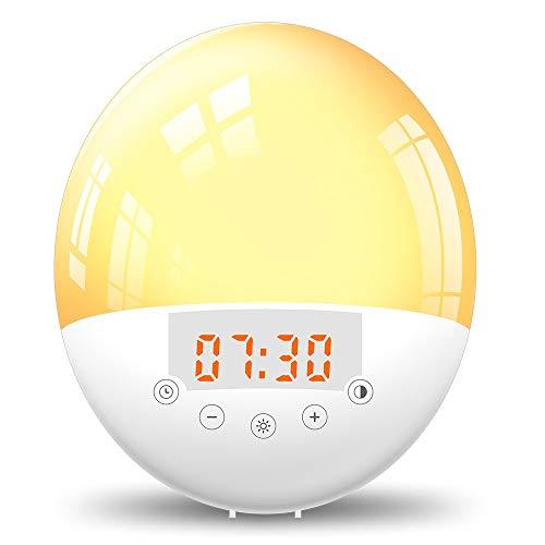 RéveilBT Connected FM Radio Réveil Lumière Réveil Affichage LED Veilleuse Fonction Snooze Réglage Double AlarmeGrand écran De Polices pour Table De Bureau