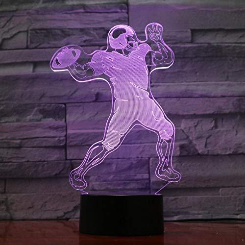 Veilleuse Joueur De Rugby 3D Pour Enfants, Lampe Illusion Optique Led Lampe De Table Usb, 16 Couleurs Changeantes Avec Télécommande Pour Enfants Cadeau D'Anniversaire Et De Noël
