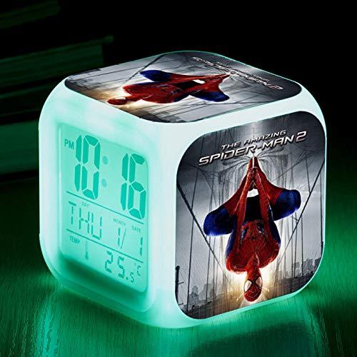 HNMB-WLKJ Réveil Carré Numérique 3D Réveils lumineux LED Veilleuse Silencieuse Lumineuse Couleur Changeante Batterie Usb Anime Héros