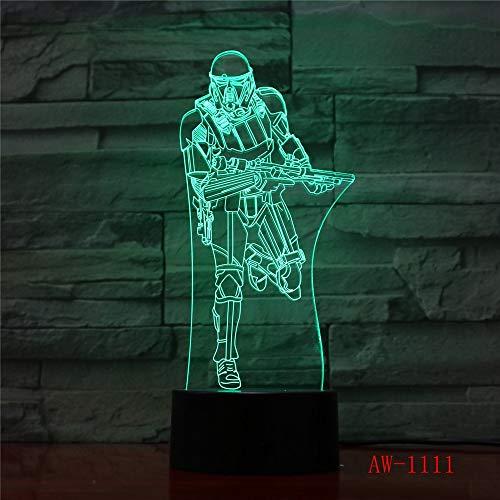 Hqhqhq Nouveau Darth Vader Chevalier Guerrier Figure Jouet 3D Veilleuse RC Clone Force Gradient Illusion LED USB Lampe Tafellamp 1 avec télécommande -1314