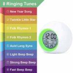 Camisin Réveil pour enfants avec veilleuse à 7 couleurs changeantes – Réveil pour chambre à coucher avec contrôle de la température et fonction snooze