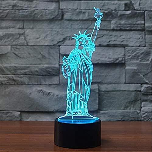 Lampe illusion 3D Statue de la Liberté Veilleuse pour enfants, 16 couleurs changeantes en acrylique LED Veilleuse pour garçons filles Cadeau d'anniversaire ou de vacances