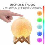 Lampe lune 3D, ManroGo lumière nocturne lune 12 cm 16 couleurs RGB avec Télécommande & contrôle tactile USB Rechargeable Veilleuse LED Cadeau pour Femme Enfants
