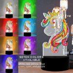 Veilleuse pour Enfant 5D DIY Diamond Painting Complet pour Enfant Veilleuse Bébé Mosaque Diamant Night Light Lampe (Unicorn 7-color light)