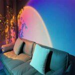 OLMME Coucher de Soleil Lampe de Projecteur Lumière LED, Chargement USB Romantique Lampe Moderne Nuit pour La Maison Salon Chambre Bureau Table Bureau Fête Cadeau D'anniversai(Color:Arc-en-Ciel)