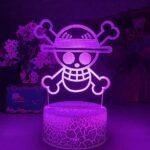 ZMSY Lampe de nuit 3D Illusion Lampe Anime One Piece Logo Enfant Veilleuse LED Touch Capteur Veilleuse Colorée pour Chambre d'enfant Décoration Cool Bureau 3D Lampe Cadeau