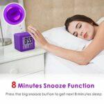 Bayda Réveil numérique avec veilleuse LED Snooze pour chambre d'enfant, petit bureau, table de chevet, voyage – Affichage de l'heure et de la date – Bleu