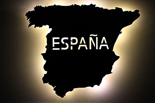 España España Espagne personnalisable avec texte souhaité gravé au laser LED Veilleuse pour chambre à coucher, salon Cadeau