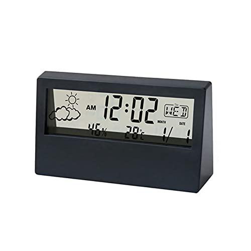 Mini-réveil Étudiant, Horloge Numérique avec Fonction Répétition, Température, Date, Météo, Opérations De Base Simples, Horloge Numérique Chevet dans la Chambre