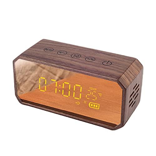 Réveil Rétro Portable Audio Haute Puissance en Bois, Style Classique sans Fil Multifonctionnel Haute Qualité, Haut-Parleur sans Fil, Réveil Chevet Chambre À Coucher