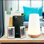 Taipow Veilleuse LED, Lampe de Chevet Multicolore à 360°, Lampe Nuit Rechargeable avec Toucher Luminosité Ajustable Télécommande pour chambre à coucher, chambre d'enfant, et salon