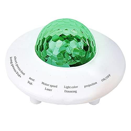 ZJQ-Projecteur Ciel Etoile, avec Grand Volume Double Haut Parleurs, 4 Modes Lumière Et 4 Couleurs, Forme D'ovnisée, Alimenté USB, pour Enfants Enfants Bébés – ABS,Vert