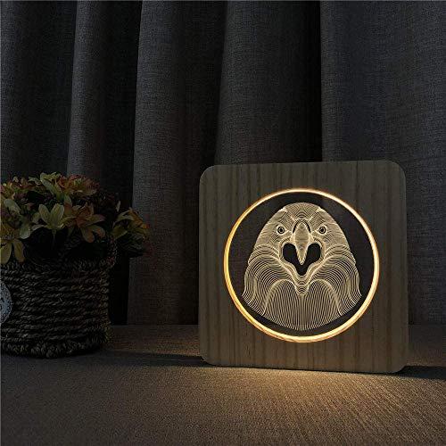 3D Veilleuse sculpture sur bois lampe 3D pic Animal en bois chaud LED lumière bouton interrupteur lampe avec Charge USB WoloShop chambre décor enfants cadeau