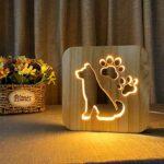 Amuzocity Creative 3D Animal En Bois Nuit Lumière LED Table Lumière Veilleuse Lampe de