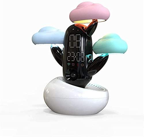 DZCGTP Réveil créatif, Dessin animé Mignon Nuage Temps Silencieux LED avec température Son contrôle de la lumière Ceinture de Charge de la température veilleuse étudiants