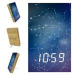 Réveil numérique à LED avec lumière tamisée, réveil de bureau pour chambre à coucher, décoration de ciel étoilé
