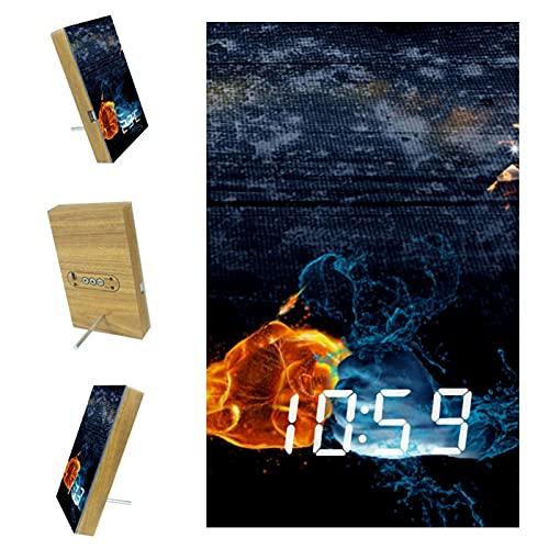 Réveil numérique à LED, lumière tamisée, réveil de bureau pour chambre à coucher, décoration d'incendie, lutte contre l'eau
