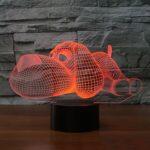 Veilleuse 3D en forme de chien pour enfants – LED 3D tactile – 7 couleurs clignotantes – Décoration de Noël pour la maison