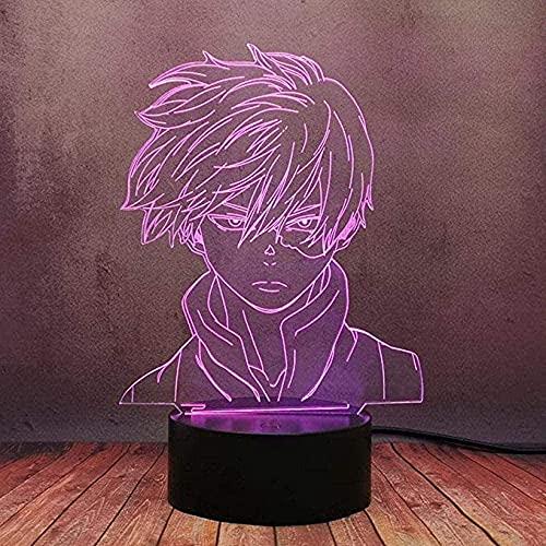 ZWWZ My Hero Academia, Anime Statue Lumièr Illusion Optique LED Veilleuse, avec Câble USB Nouveauté De Noël Cadeau d'anniversaire