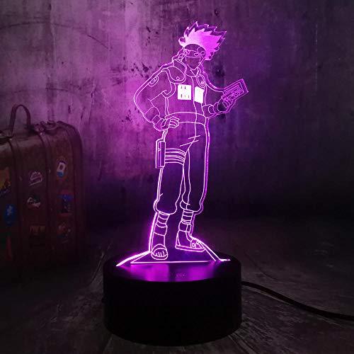 HYMJ Veilleuse LED 3D Naruto Anime Lampe Hatake Kakashi Uzumaki 3D LED Night Light Desk Lampe de bureau pour enfant Garçon Enfants Enfants Joueurs de sommeil Baby Sleep Christmas (7 couleurs touches)